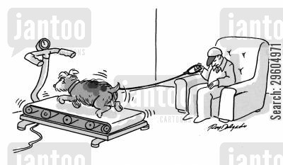 treadmill cartoon humor: Dog on a treadmill.