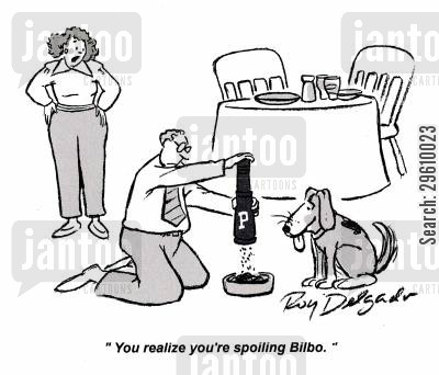 preparation cartoon humor: 'You realize you're spoiling Bilbo.'