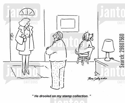 stamps cartoon humor: 'He drooled on my stamp collection.'