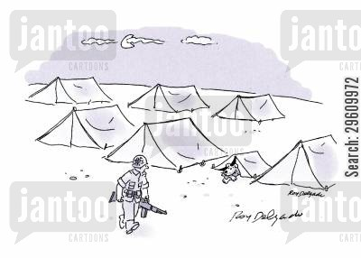 camps cartoon humor: Dog tent.