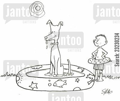 heatwave cartoon humor: Taking a dip