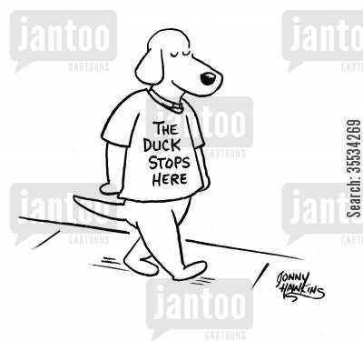 t-shirt slogans cartoon humor: Dog wears t-shirt: 'The Duck Stops Here'