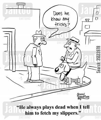 slipper cartoon humor: Man about dog: 'Does he know any tricks?' Dog owner: 'He always playes dead when I tell him to fetch my slippers.'