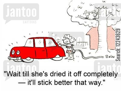 clean car cartoon humor: 'Wait till she's dried it off completely -- it'll stick better that way.'