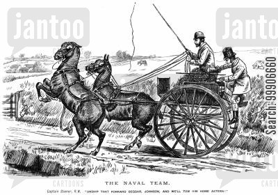 cart cartoon humor: Two sailors riding in a carriage