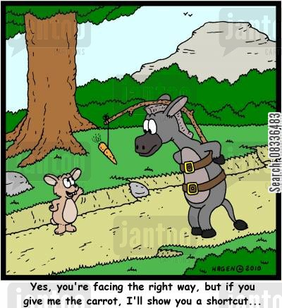 short cuts cartoon humor: 'Yes, you're facing the right way, but if you give me the carrot, I'll show you a shortcut...'