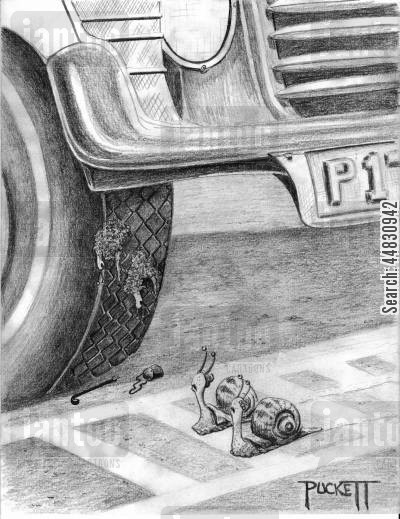 roadkill cartoon humor: A snail 'couple' is crossing road looking up, they see crushed snail couple on tread of car tire...