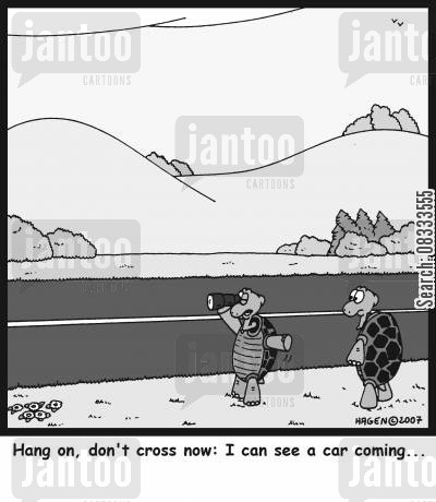 green cross codes cartoon humor: Hang on, don't cross now: I can see a car coming...