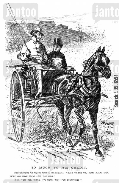 horse and carriages cartoon humor: An uncle and his nephew travelling home for the holidays