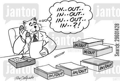 bureaucracy cartoon humor: 'In... out... in... out... in... out... in...?!'