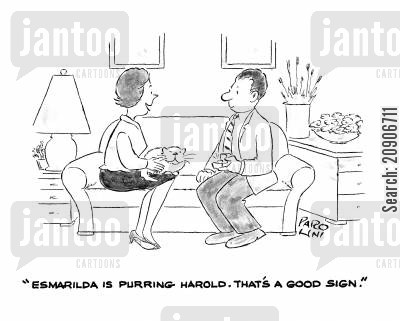 feline friend cartoon humor: 'Esmarilda is purring Harold. That's a good sign.'
