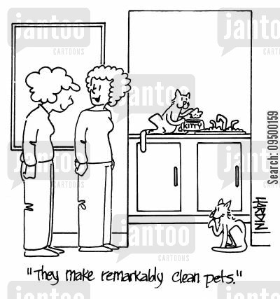 clean pet cartoon humor: 'They make remarkably clean pets.'