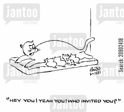 invited cartoon humor: 'Hey you! Yeah, you! Who invited you?'
