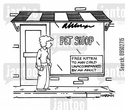 adult supervision cartoon humor: Free Kitten to any Child Unaccompanied by an Adult.