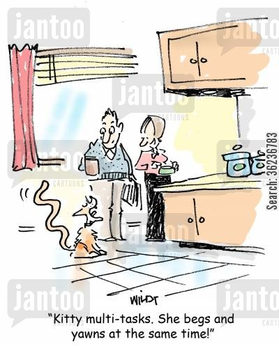 multitask cartoon humor: 'Kitty multi-tasks. She begs and yawns at the same time!'