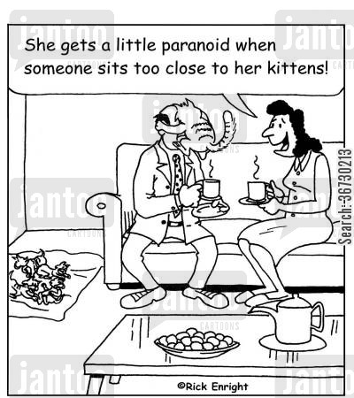protective parents cartoon humor: 'She gets a little paranoid when someone sits too close to her kittens!'