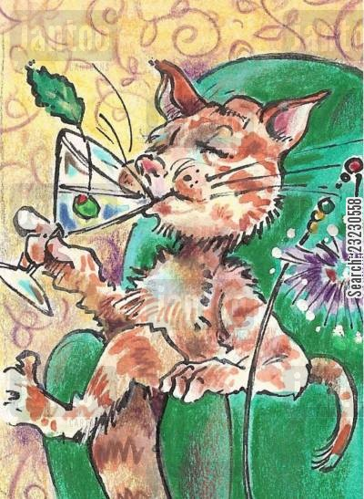 happy hours cartoon humor: Cat Nip.
