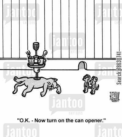 tricksters cartoon humor: 'O.K. - Now turn on the can opener.' (sleeping cat, naughty mice)