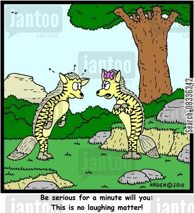 serious matter cartoon humor: 'Be serious for a minute will you: This is no laughing matter!'