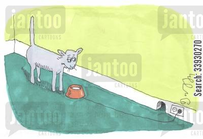 cat and mouse cartoon humor: Cat with electrified water bowl.