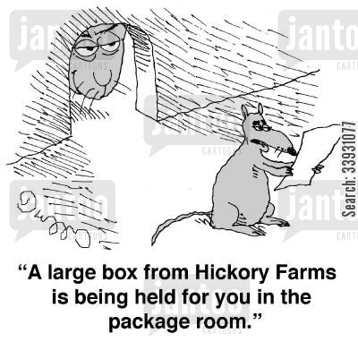 cat and mouse cartoon humor: 'A large box from Hickory Farms is being held for you in the package room.'