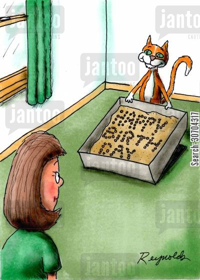 kitty litter cartoon humor: Happy Birthday from the Cat.