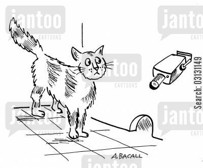 security cameras cartoon humor: Mouse CCTV.