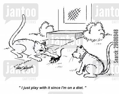 ate cartoon humor: 'I just play with it since I'm on a diet.'