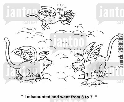 counted cartoon humor: 'I miscounted and went from 8 to 7.'