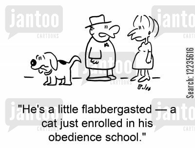 flabbergasted cartoon humor: 'He's a little flabbergasted -- a cat just enrolled in his obedience school.'