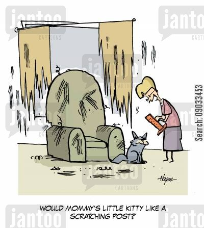 scratching posts cartoon humor: 'Would Mommy's little kitty like a scratching post?'