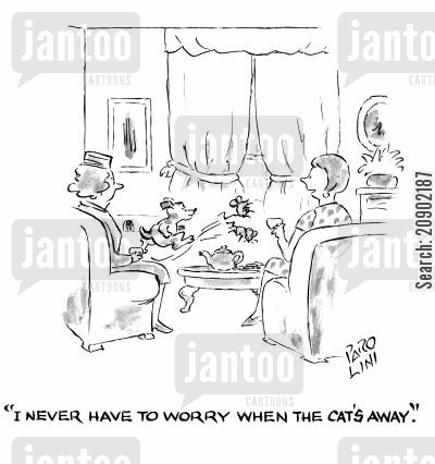mousetraps cartoon humor: 'I never have to worry when the cat's away.'
