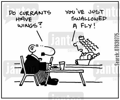 currants cartoon humor: 'Do currants have wings?' - 'You've just swallowed a fly.'