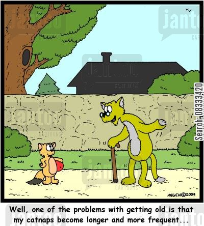 catnaps cartoon humor: Well, one of the problems with getting old is that my catnaps become longer and more frequent...
