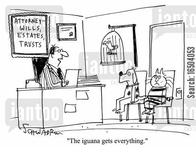 iguana cartoon humor: Pets in Attorney's office - 'The iguana gets everything.'