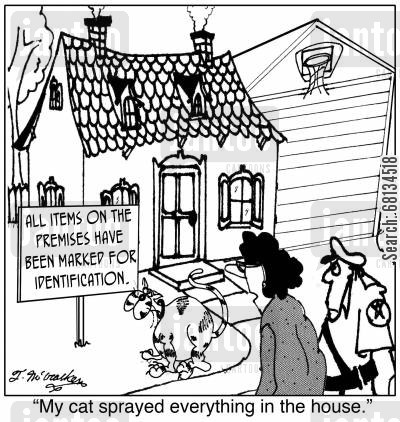 trespassers cartoon humor: 'My cat sprayed everything in the house.'