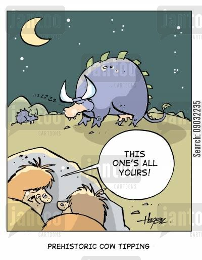 cattles cartoon humor: 'This one's all yours!' - Prehistoric Cow Tipping.