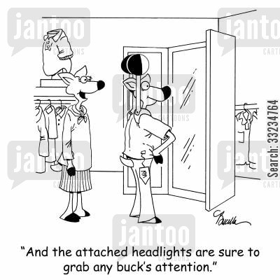 shop assistants cartoon humor: 'And the attached headlights are sure to grab any buck's attention.'