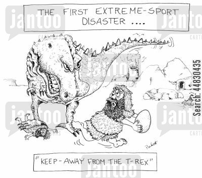 extreme sports cartoon humor: The First Extreme-sport disaster.