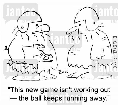 new game cartoon humor: 'This new game isn't working out -- the ball keeps running away.'