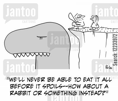 large meal cartoon humor: 'We'll never be able to eat it all before it spoils -- how about a rabbit or something instead?'