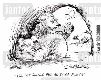 hibernating bears cartoon humor: 'I'll set snooze for an extra month.'