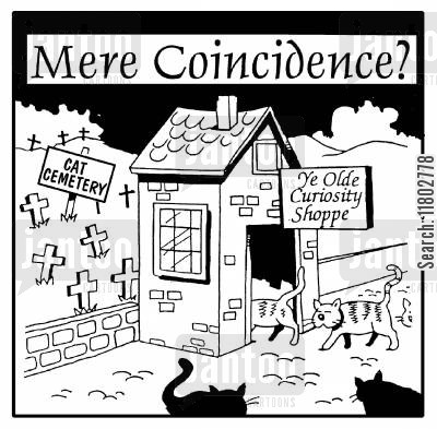 famous saying cartoon humor: Mere coincidence? (Cats enter Ye Olde Curiosity Shoppe - out back there is a cat cemetary).