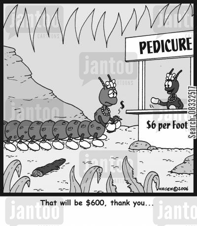 pedicure cartoon humor: 'That will be $600, thank you...'