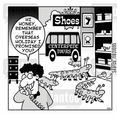 centipedes cartoon humor: Centipedes in a shoe shop.