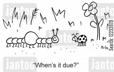 due cartoon humor: 'When's it due?'