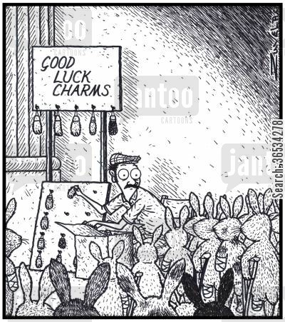 charms cartoon humor: An angry mob of Rabbits have finally found the person who has their former feet using them for good luck charms
