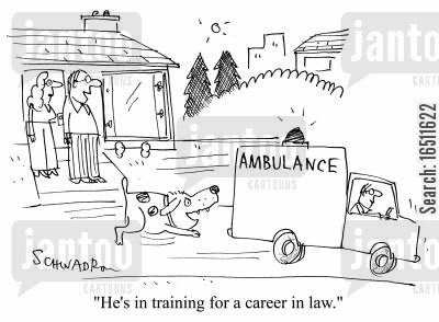 accident victims cartoon humor: 'He's training for a career in law.'