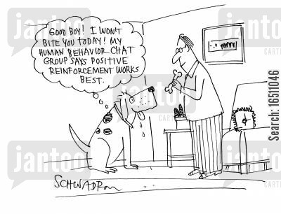 chat group cartoon humor: 'Good boy! I won't bite you today! My human behavior chat group says positive reinforcement works best.'