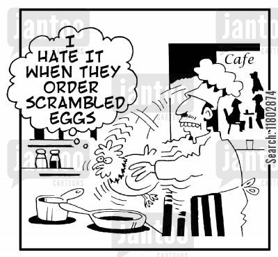 scramble cartoon humor: 'I hate it when they order scrambled eggs.' (chef shaking chicken).